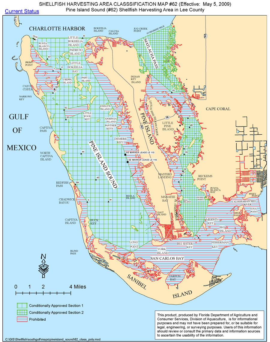 Shellfiish Harvesting Area Classification Map #62 - Pine Island