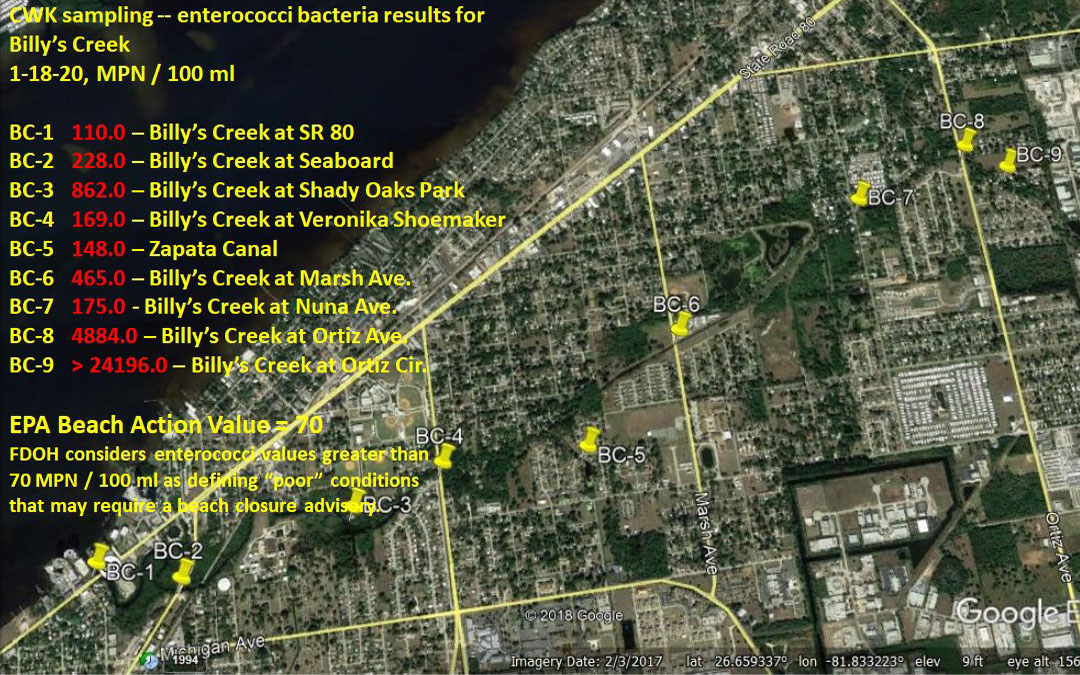 Enterococci bacteria Billy's Creek