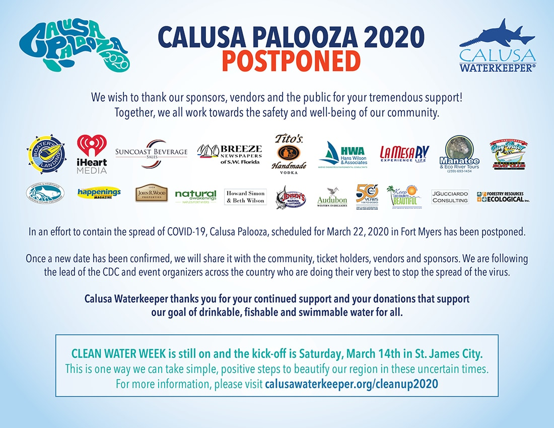 Calusa Palooza Postponed
