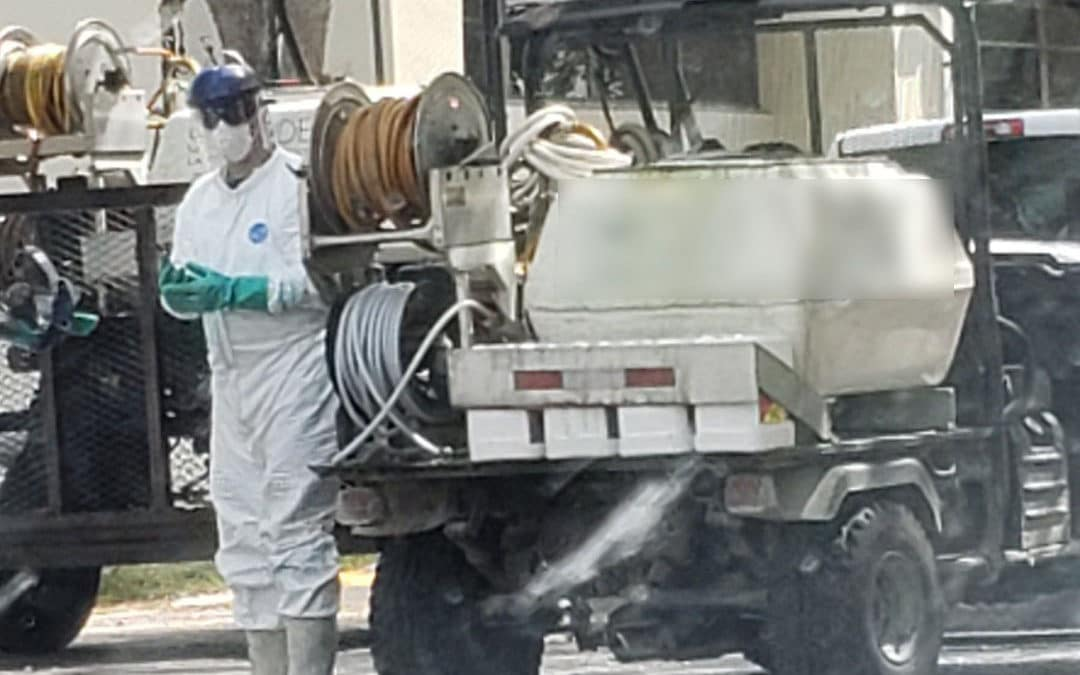 Sewage spill spray equipment